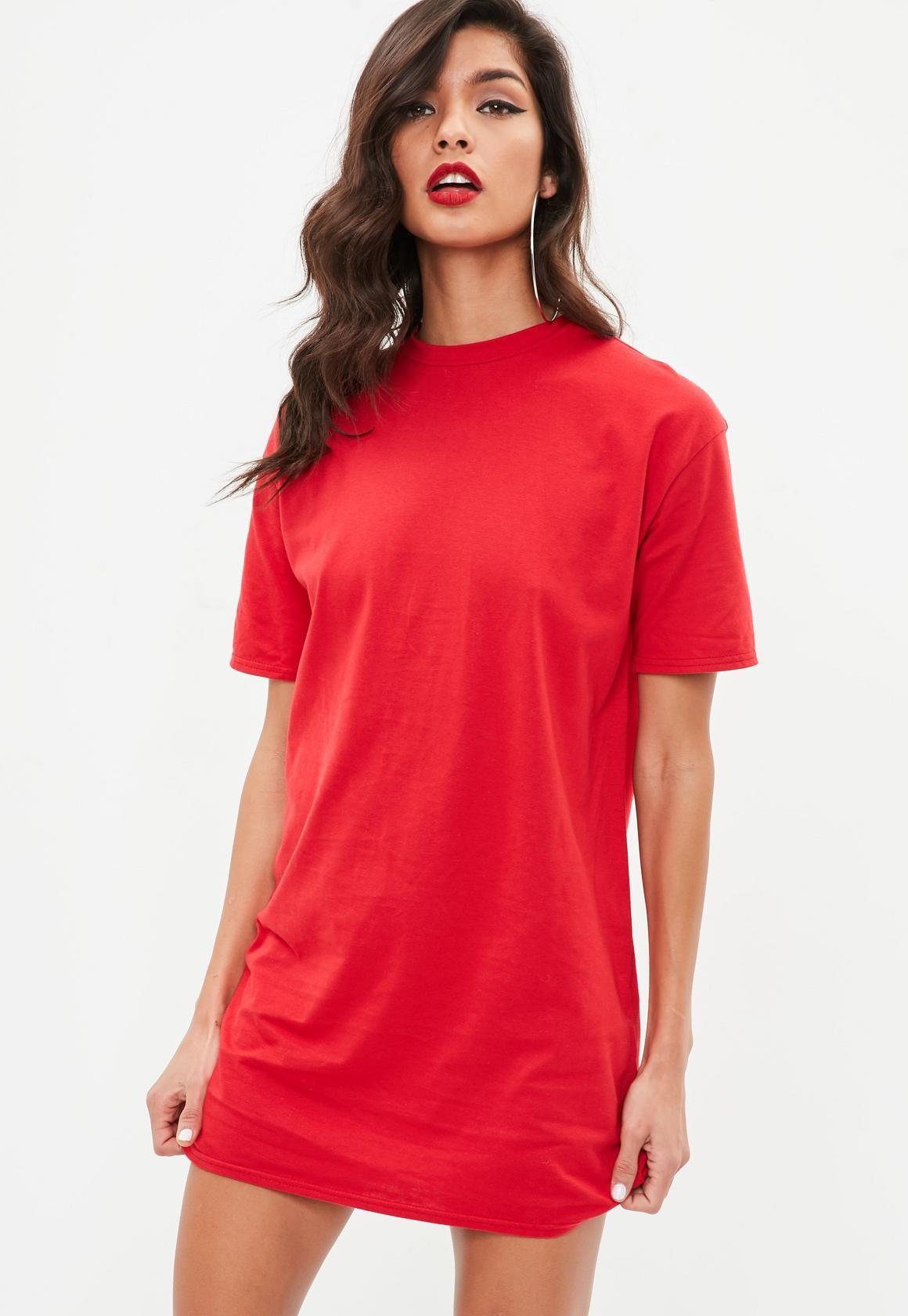Red short sleeve crew neck t shirt dress summer wants pinterest