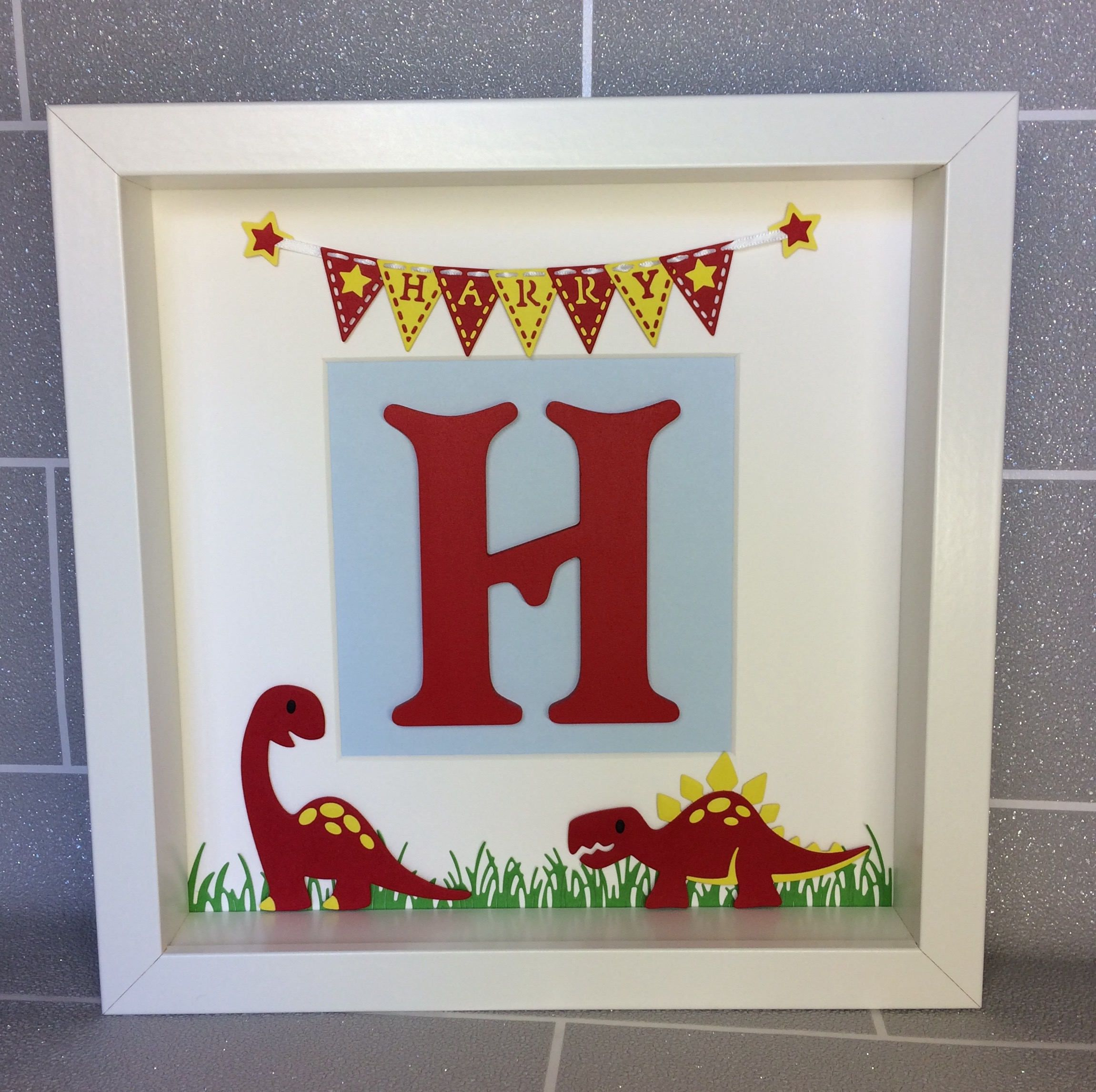 Personalised initial name box frame, Keepsake, Gift, New baby ...