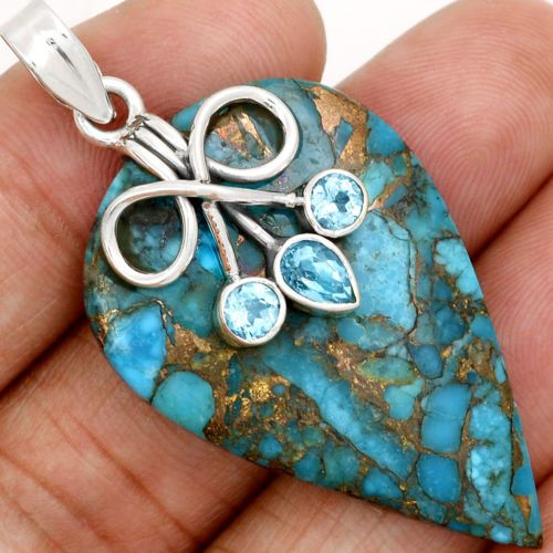 Copper-Blue-Arizona-Turquoise-925-Sterling-Silver-Pendant-Jewelry-SP143538