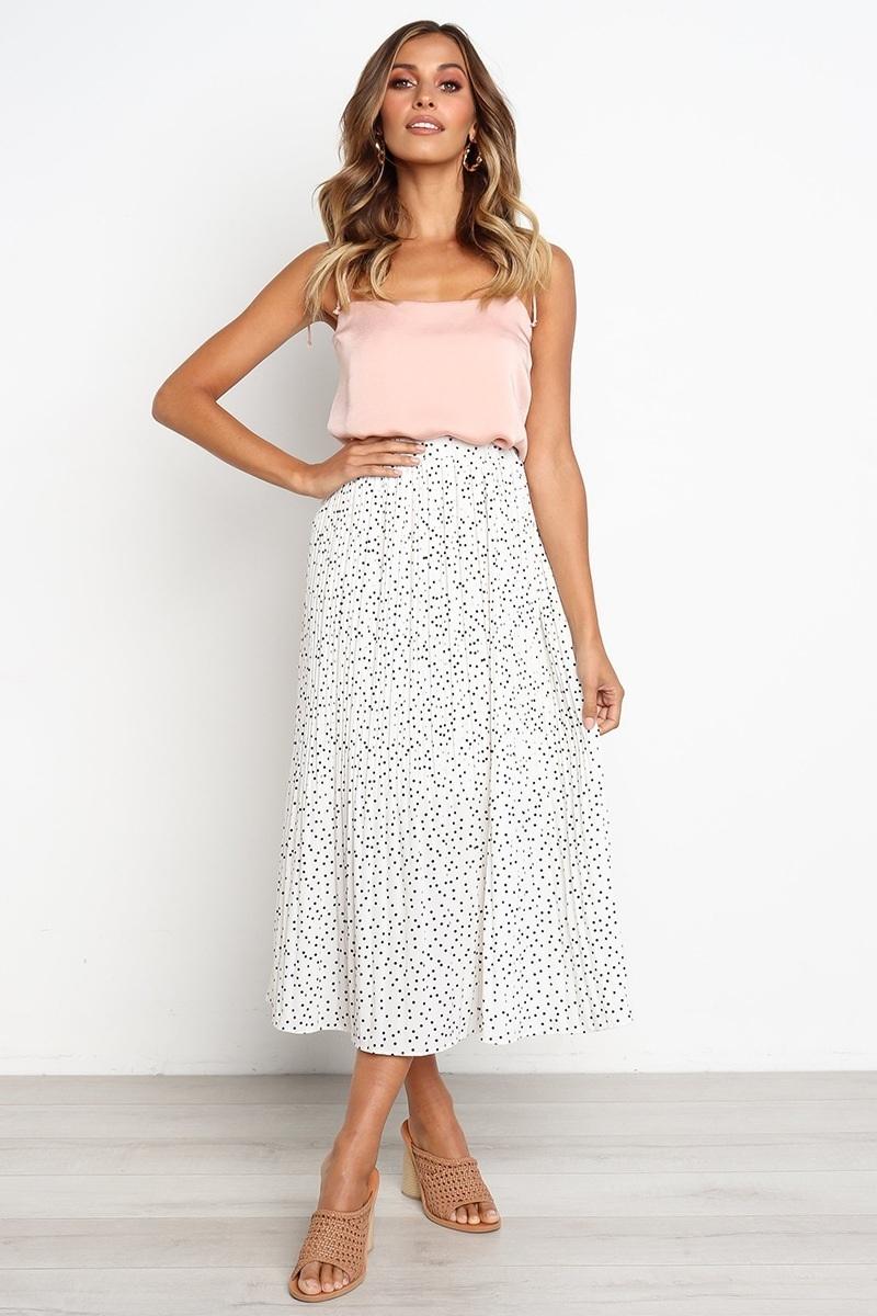 New white polka dot pleated midi ruffle women skirt plus size spring summer