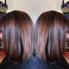 Bildergebnis Für Brunette Bob Haircut With Fine Red Highlights