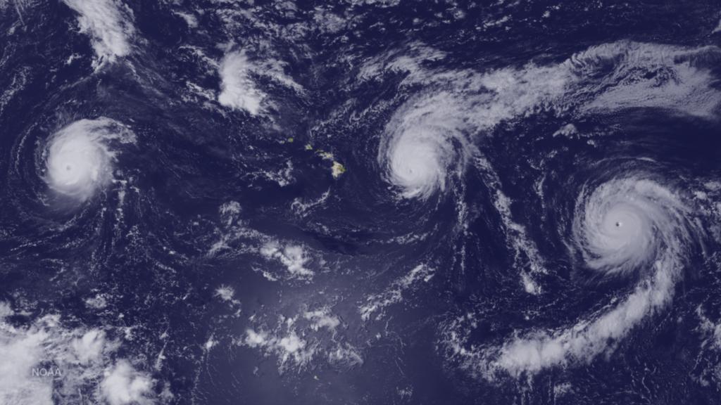 Hurricanes Kilo, Ignacio and Jimena Surround Hawaii