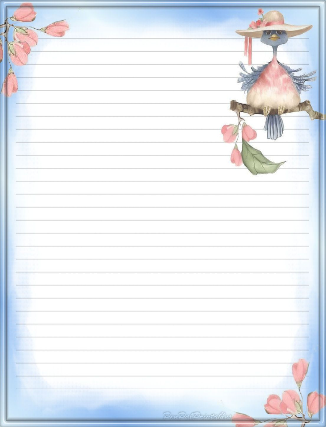 Blue Bird Lined Stationery Paper Free Printable