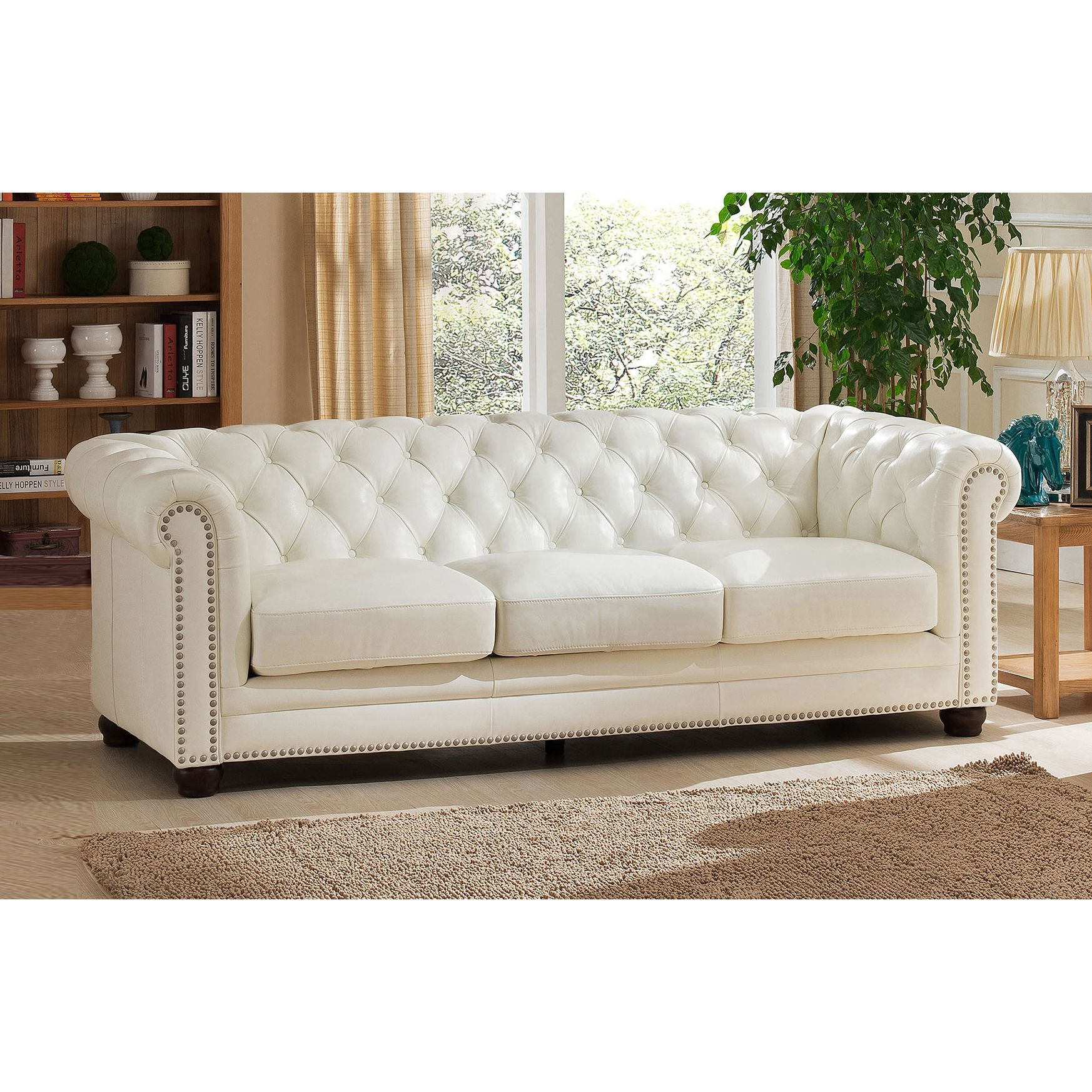 Nashville White Genuine Leather Chesterfield Sofa With Feather Down Seating Coja Leather Sofa Sofa Deals Best Leather Sofa