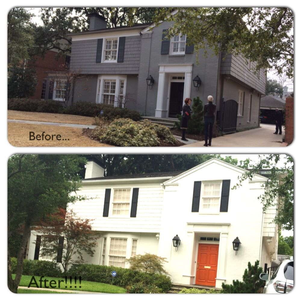 Painted brick transformation white house black shutters orange door brick color greek House transformations exterior