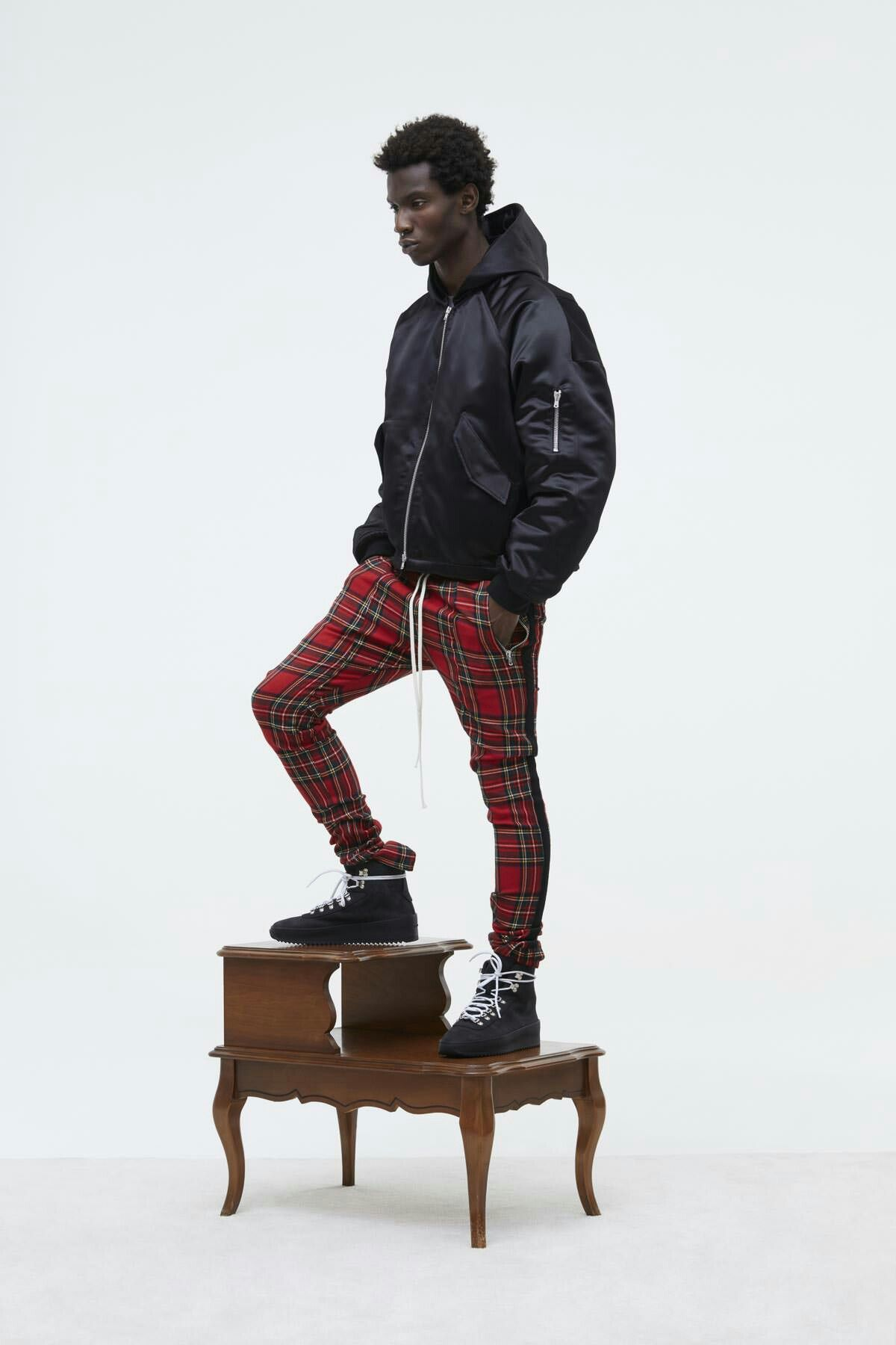 Fear Of God Fifth Collection Black Military Boots Red Plaid Zipper