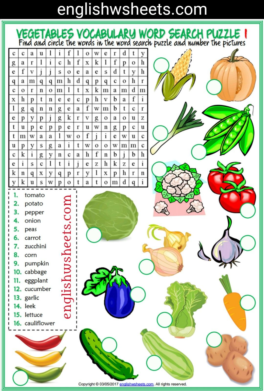Vegetables Esl Printable Word Search Puzzle Worksheets For