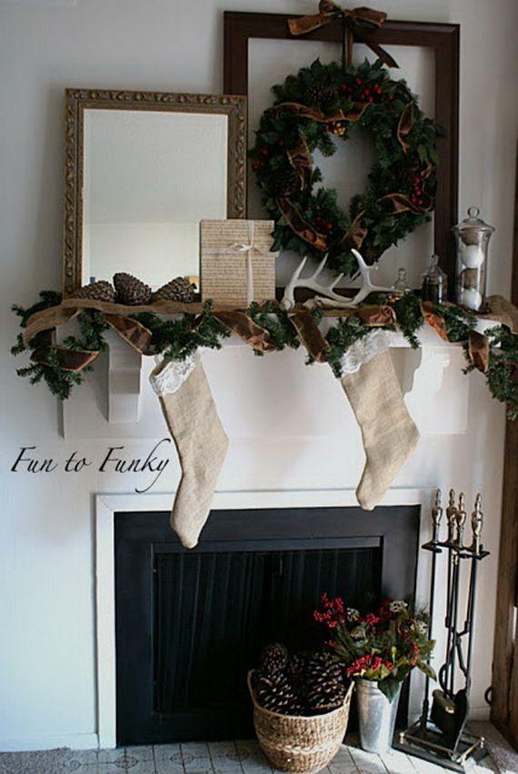 Marvelous 48 Inspiring Holiday Fireplace Mantel Decorating Ideas