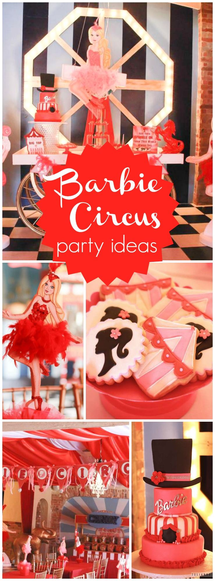You have to see this Barbie circus party with lots of glitz and glam!  See more party ideas at CatchMyParty.com!