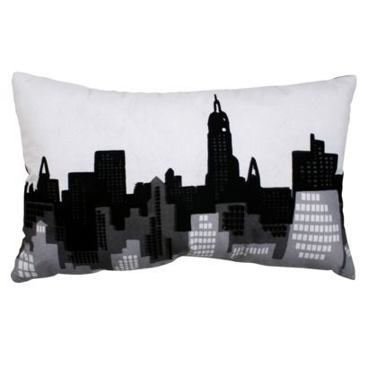 Room Essentials™ Multicolor  Cityscape Pillow.Opens in a new window