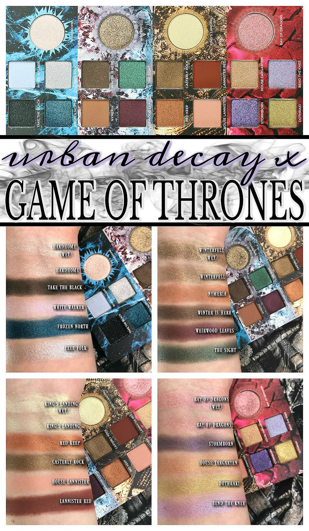 Urban Decay x Game of Thrones Eyeshadow Palette Swatches