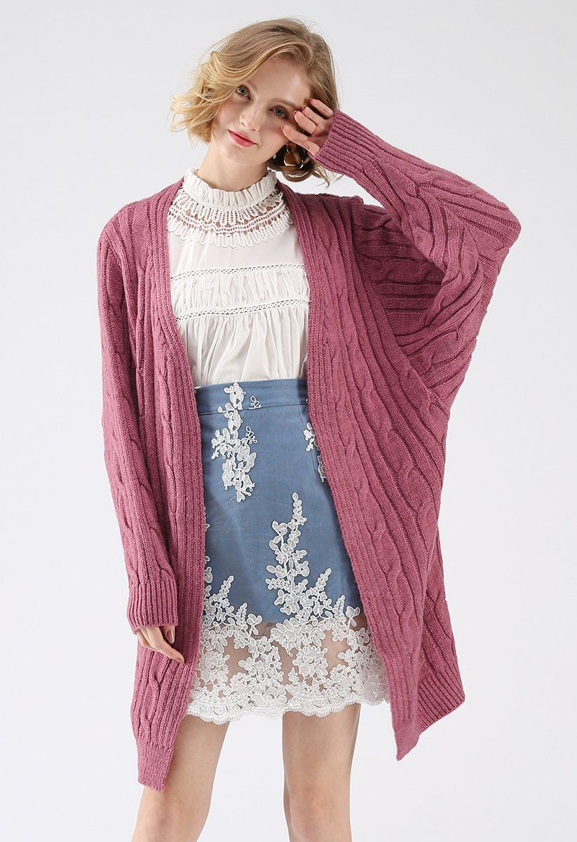 Warmest Hug Cable Knit Longline Cardigan in Berry | Cable