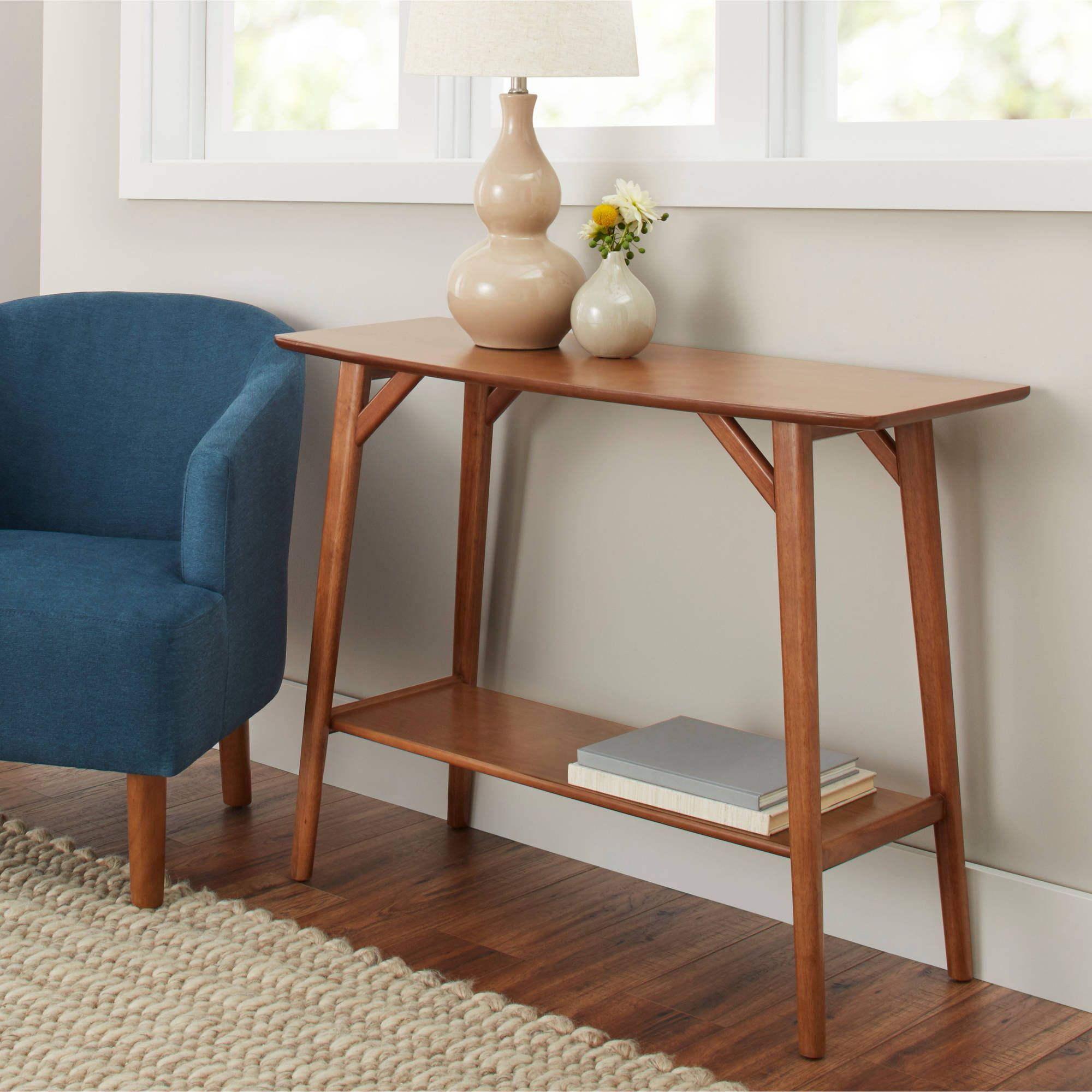 Better Homes Gardens Reed Mid Century Modern Console Table