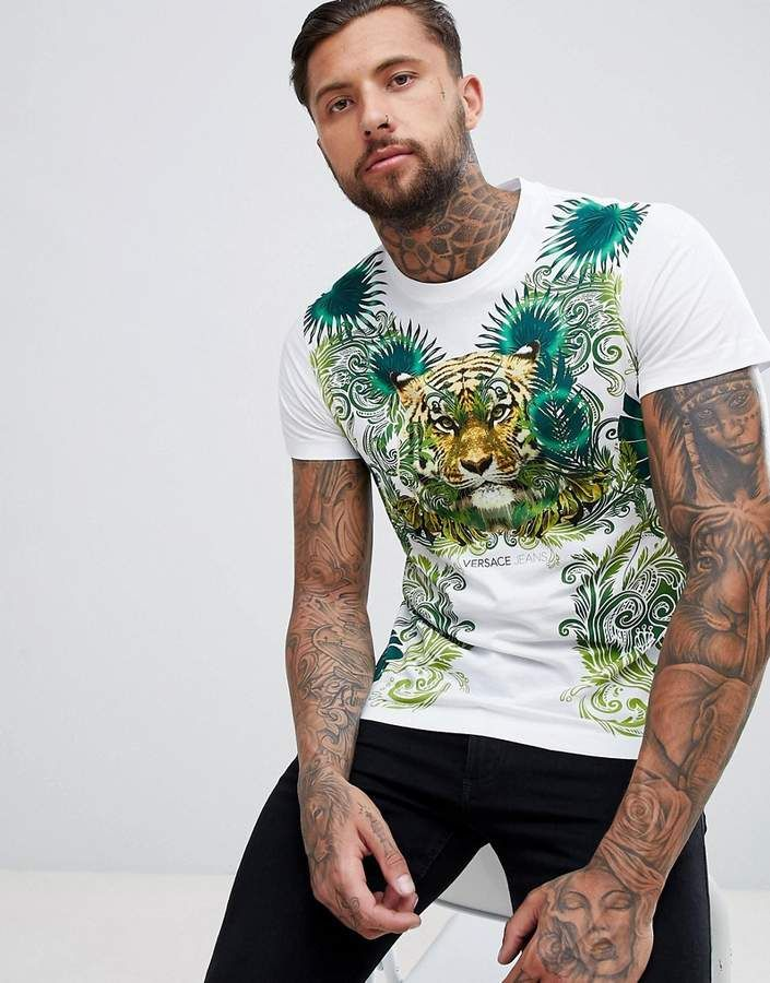 8169223eb0b Versace T-Shirt In White With Tiger Jungle Print