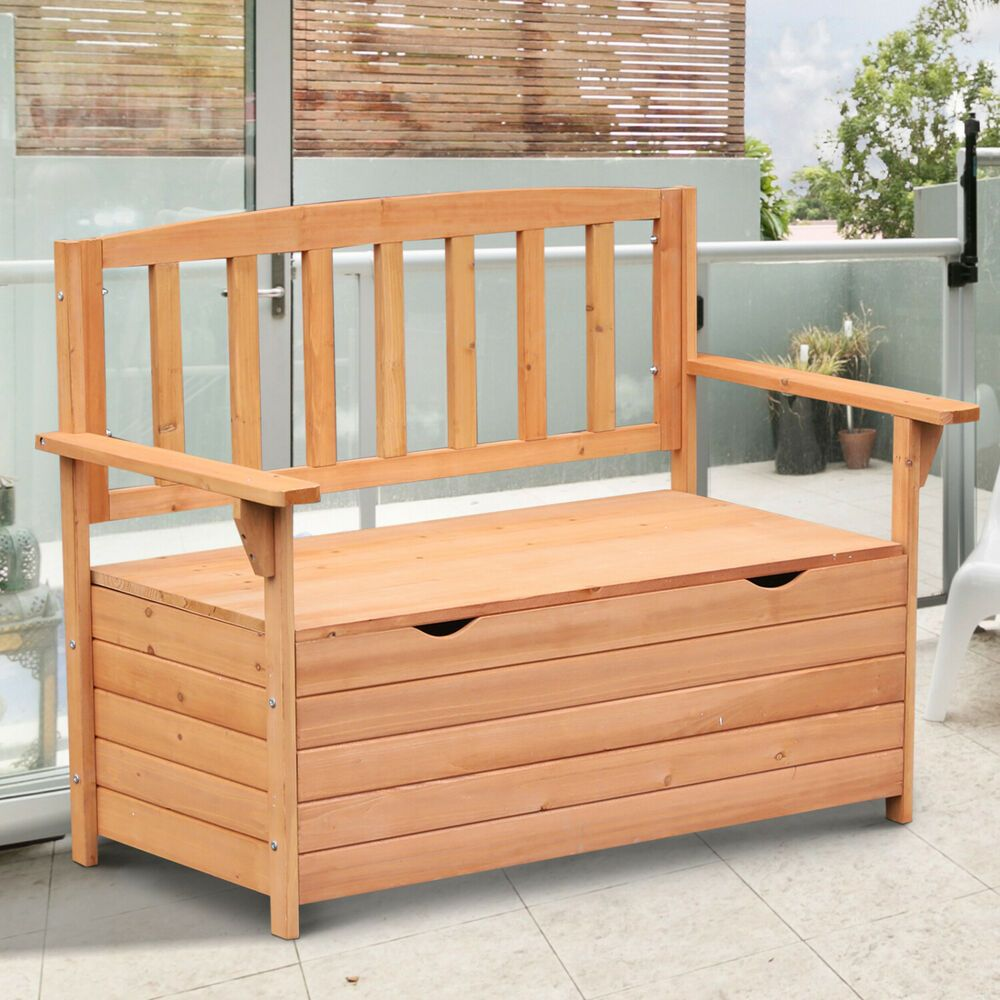 Details about outdoor storage bench retro wood seat high