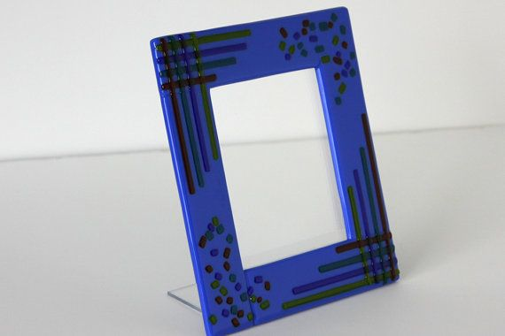 Fun Blue Fused Glass Table Top Picture Frame Home by GetGlassy ...