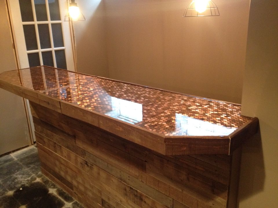 Pallet face with penny and epoxy bar top basement ideas for What to use for a bar top