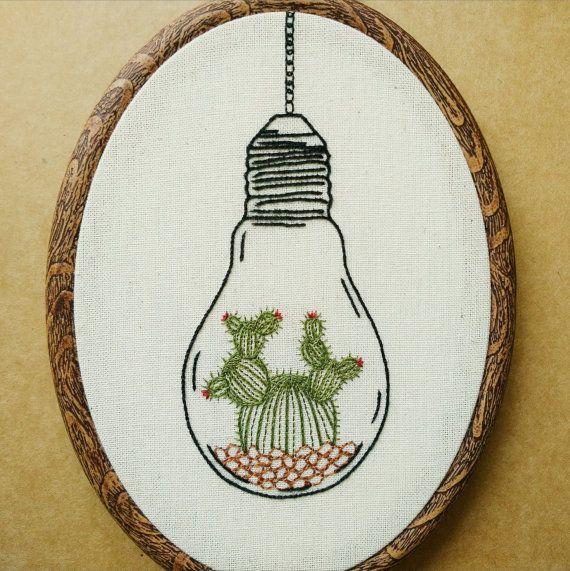 PDF pattern - Cactus in a Light Bulb Terrarium Hand Embroidery Pattern (cactus - succulent embroidery pattern) (modern embroidery pattern)