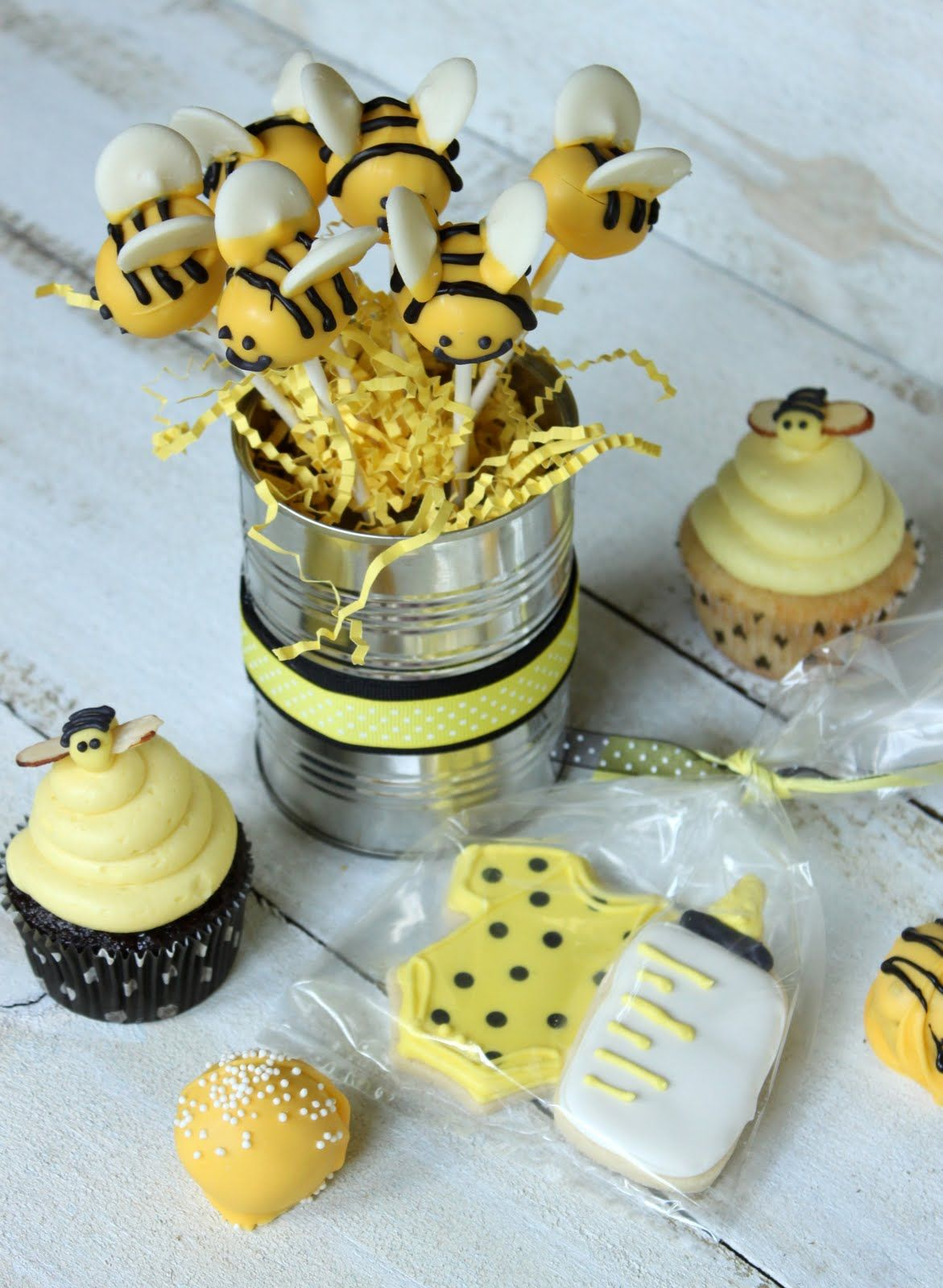 Bumblebee baby shower cookies, cupcakes and cake pops
