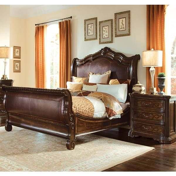 Valencia Leather Sleigh Bed A R T