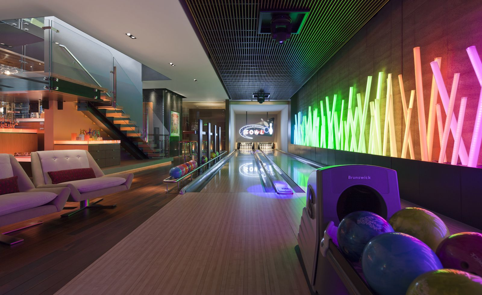 Pin By Fusion Bowling On Home Bowling Alley Seating Storage Ideas Finishing Basement Home Bowling Alley Game Room