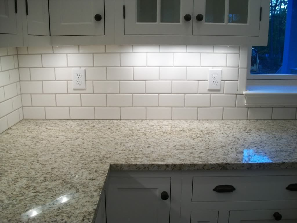 Lowes white subway with mobe pearl grout bonus room for Kitchen without tiles