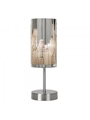 New York Beige & Chrome Table Lamp