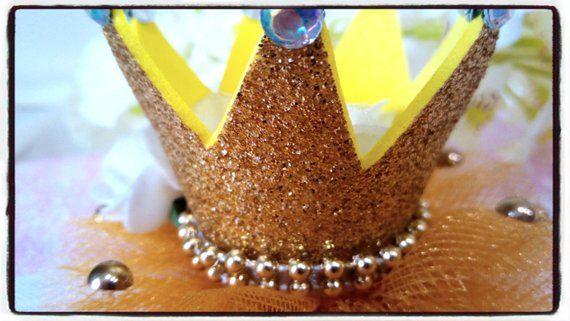 Gold Glitter Mini Crown Headband Glitter Tulle Crown Headband First Birthday Crown Headband Child's Crown Girl Birthday Crown Foam Roses #crownheadband