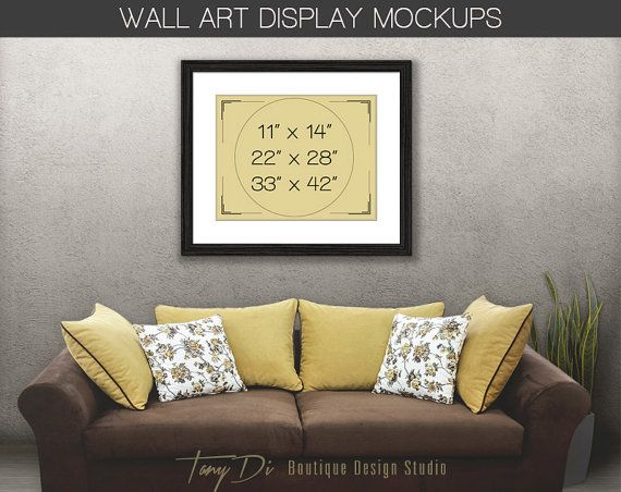 Living Room #10 Sofa Wall Interior, 8x10 11x14 Brown Wooden Portrait ...