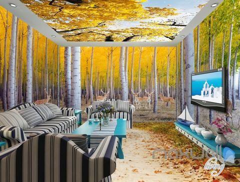 3D Yellow Poplar Forest Entire Living Room Wallpaper Wall Mural Art