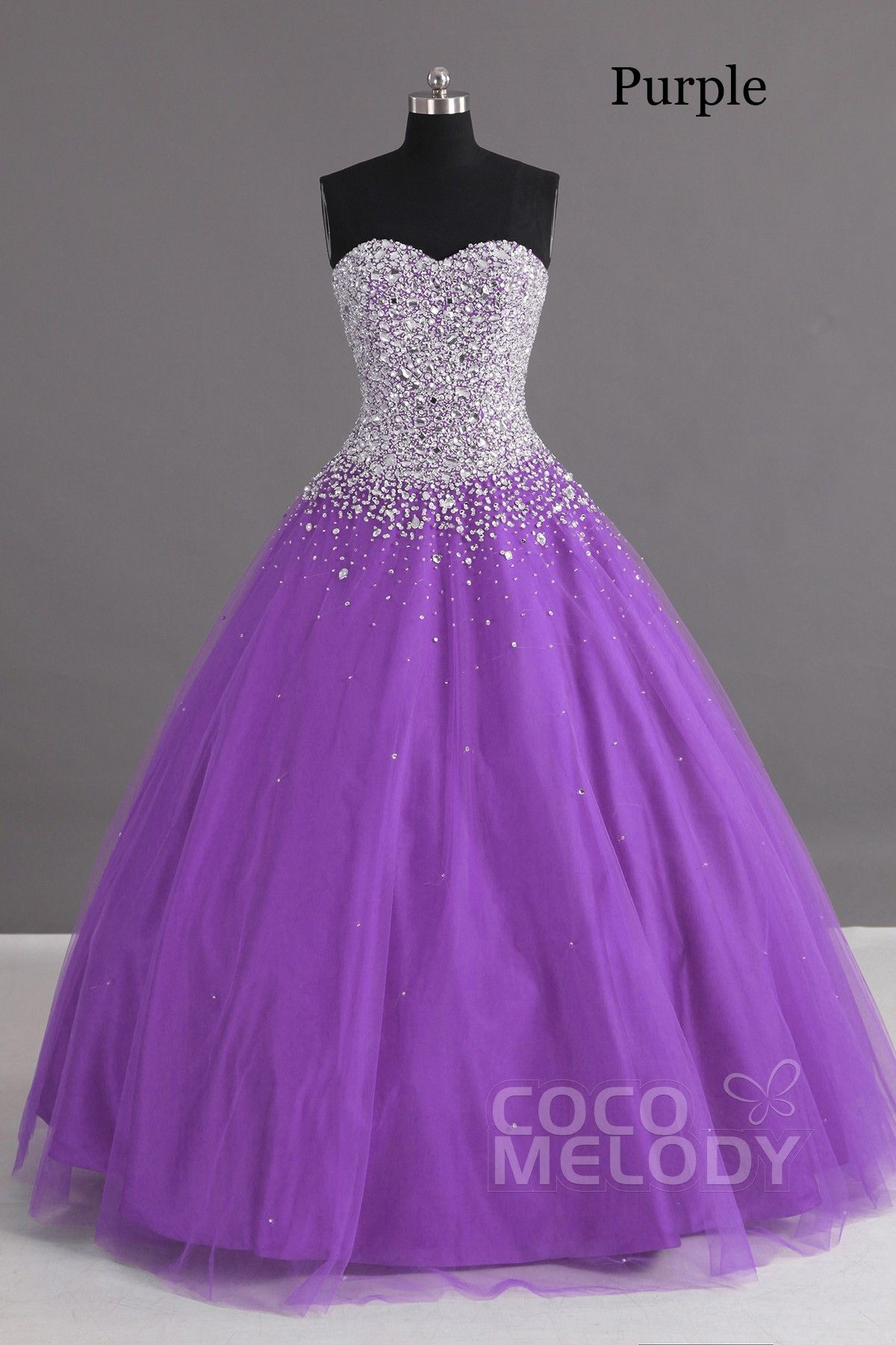87e12c1e9eb Charming Ball Gown Sweetheart Floor Length Tulle Lace-up Corset Quinceanera  Dress with Crystals COLF1400F