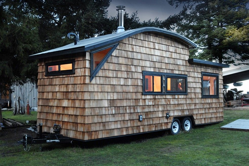 CurvedRoof Tiny Home Made from Salvaged Cedar The