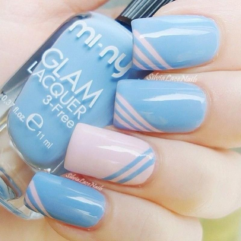 2014 Nail Art Ideas For Prom: Cute Simple Nail Designs For Short Nails 2014 #prom Blue