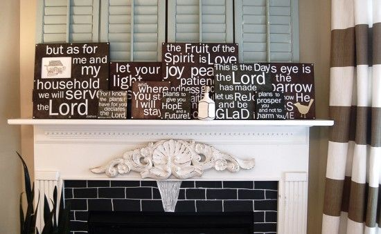 Scriptures mantle. One day, my husband and I will live in the same home and be able to do this. A wall for some of our favorite scriptures. It will be wonderful.