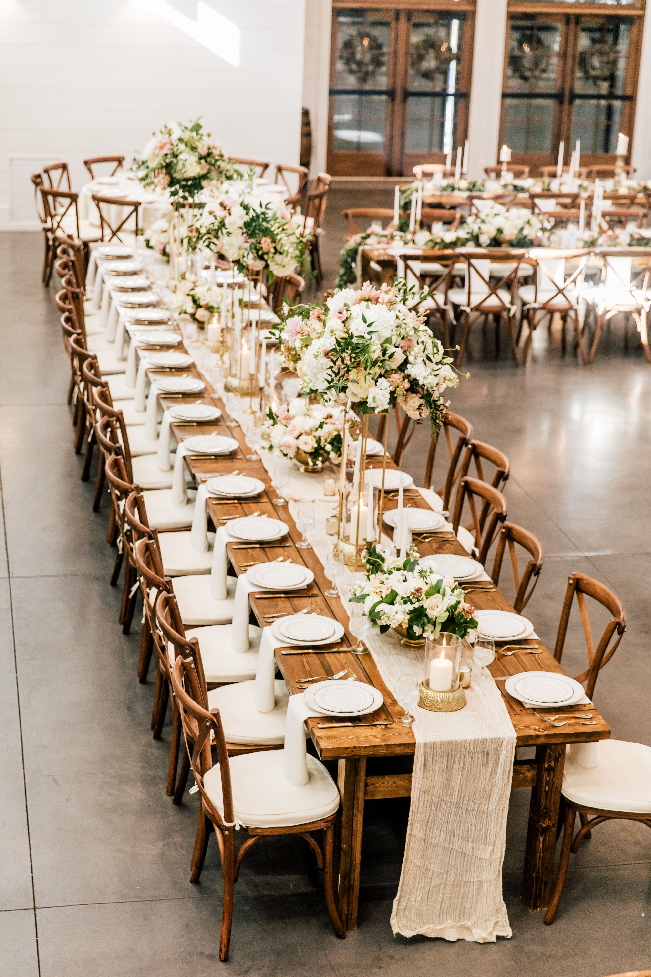 Muted Fall Palette Elevated Centerpieces For Wedding Reception Lush Wedding Table Decor Blush P Dinner Table Set Up Long Dining Table Rectangle Dining Table