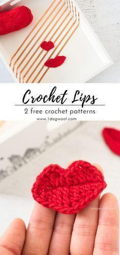 2 Crochet Lips Appliques for Photobooth Props #crochetapplique