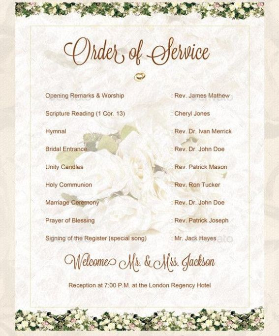 Wedding Ceremony Order Of Service Template Business Template Wedding Order Of Service Order Of Wedding Ceremony Order Of Service Template