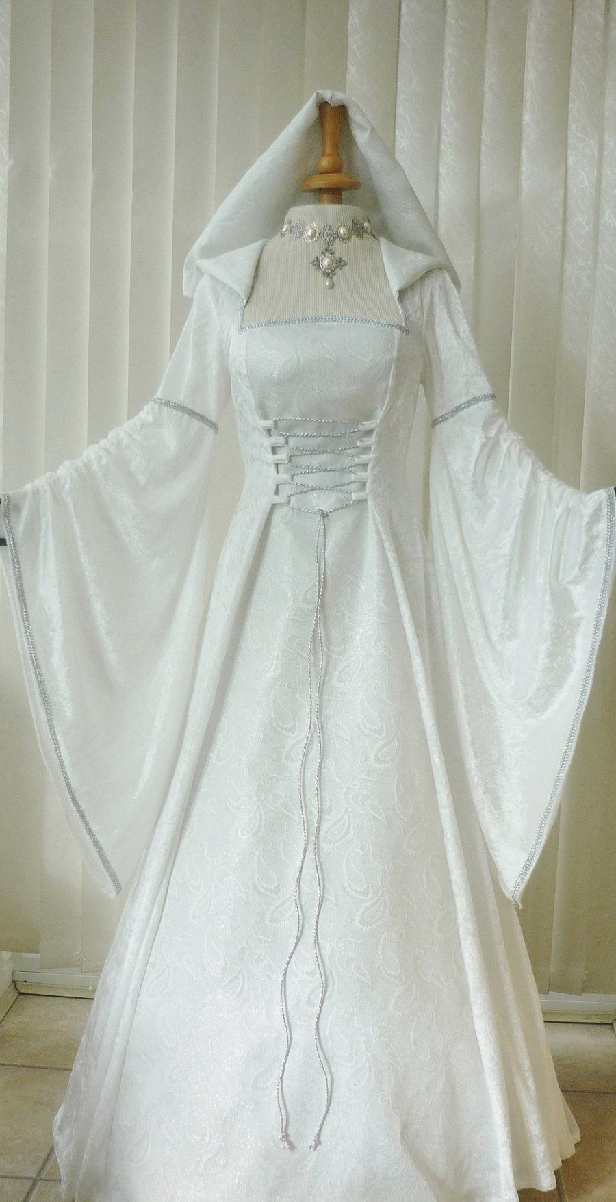 Medieval pagan renaissance ivory silver hooded wedding for Renaissance inspired wedding dress