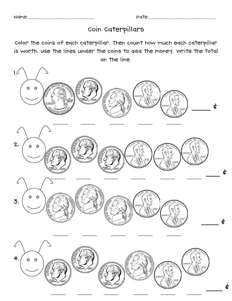 coin caterpillars.pdf (With images) Money math