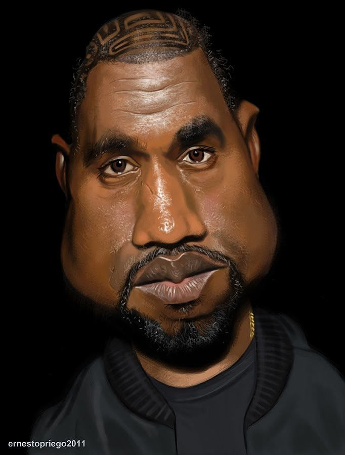 Caricatura De Kanye West Celebrity Caricatures Funny Caricatures Caricature
