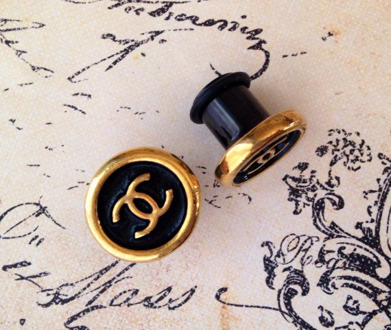 Genuine Vintage Chanel Button Plugs For Gauged Ears 00g 7 16 1 2 9 5 8 10mm 11mm 12mm 14mm 16mm
