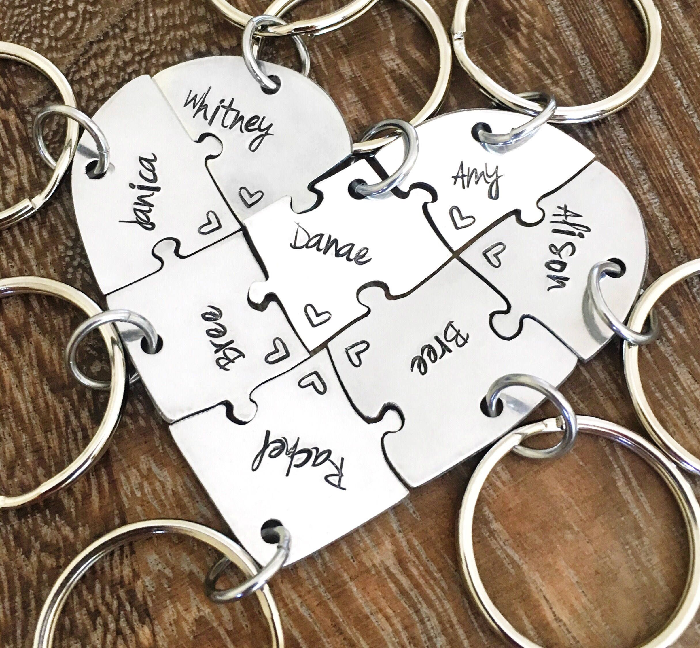 Hand Engraved Friendship Heart Puzzle Keychain Family Friends The Little Things She Needs Kashira 2b Brown Cokelat 36 8 Pieces