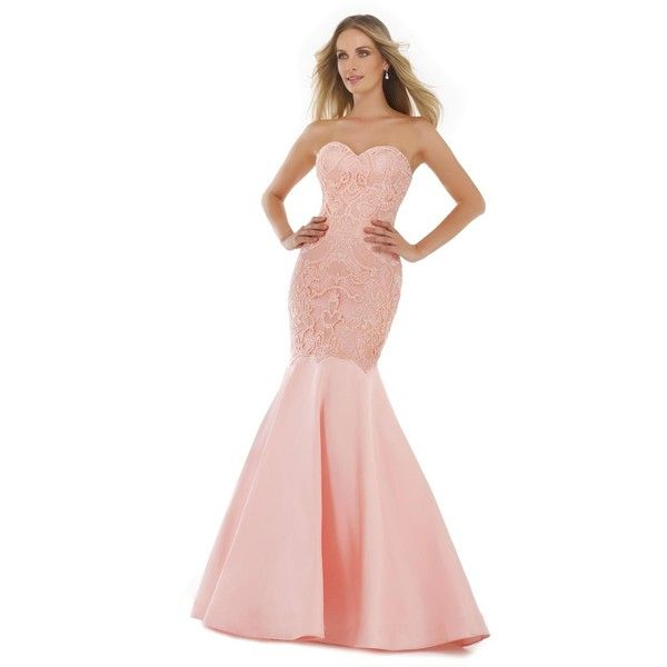Morrell Maxie 15605 Prom Mermaid Dress Long Strapless Sleeveless (€450) ❤ liked on Polyvore featuring dresses, gowns, blush, formal dresses, long evening gowns, evening dresses, long evening dresses, pink prom dresses and long formal dresses