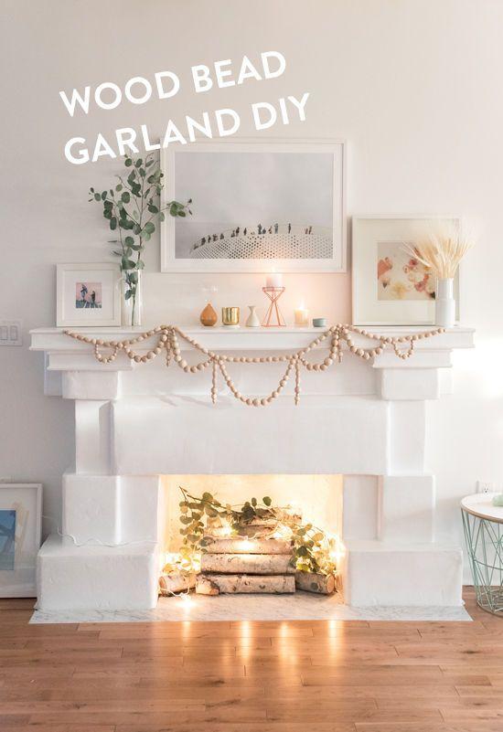 Wooden Bead Garland Fireplace