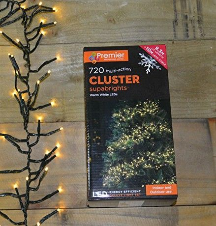 WHITE Premier 720 Multi-Action LED Cluster Indoor Outdoor Christmas Lights