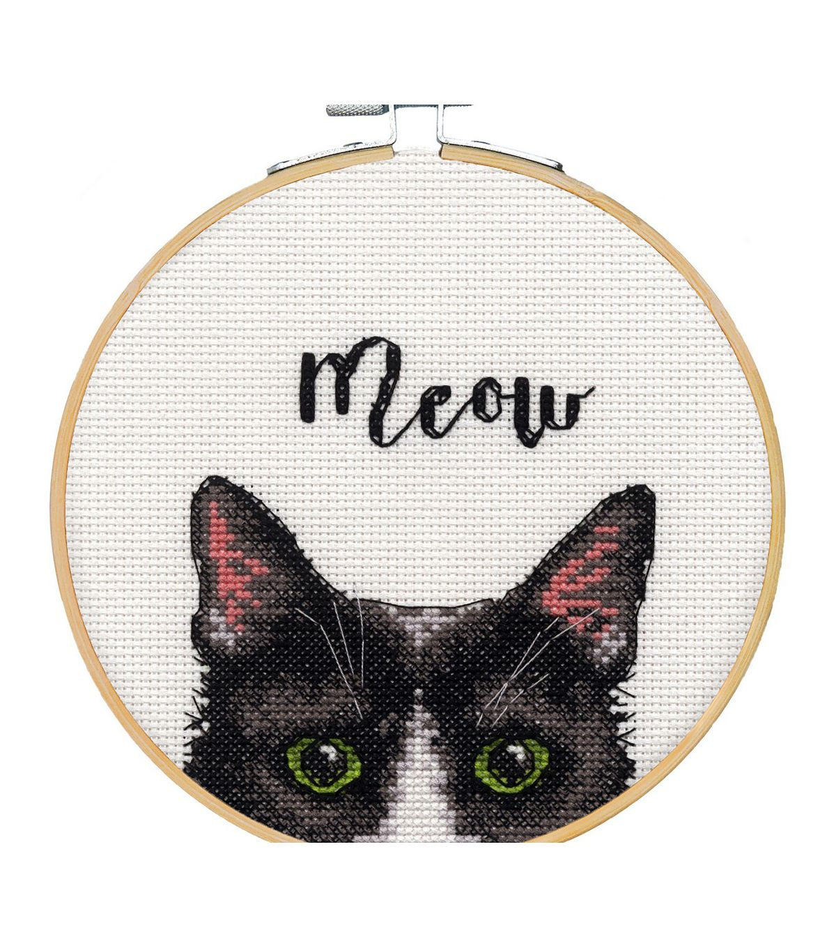 Photo of Dimensions Counted Cross Stitch Kit with Hoop 6″-Meow | JOANN