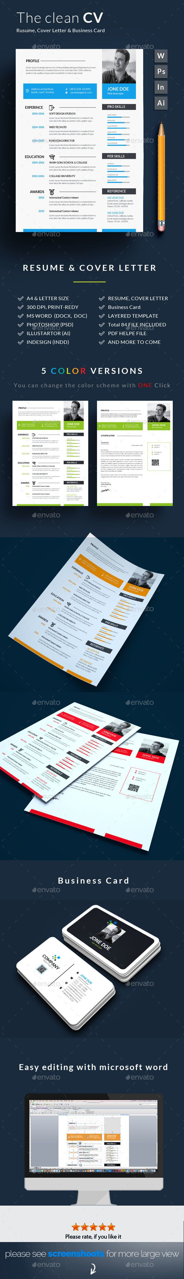 Resume Word Template CV Wtih Business
