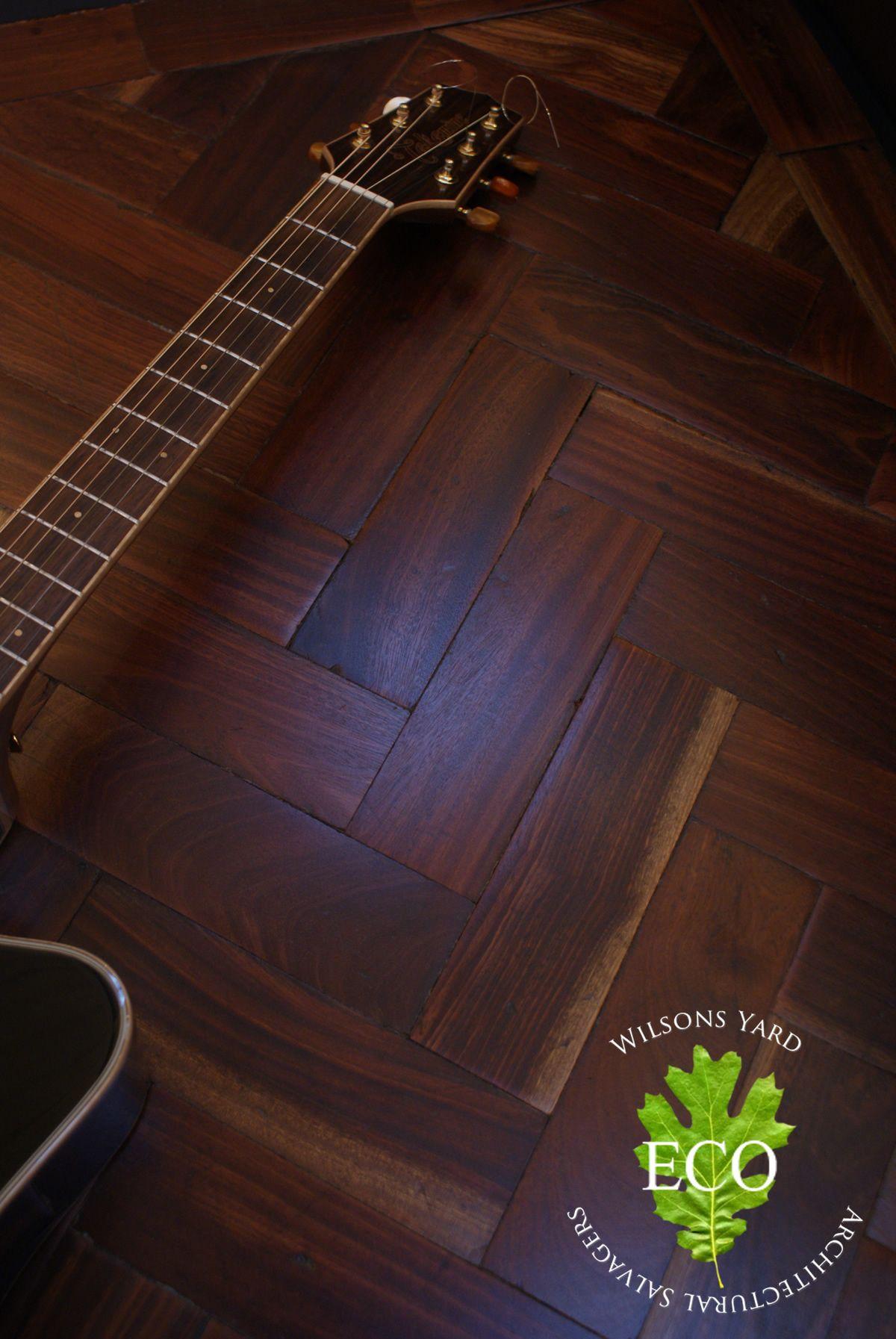 Old Herringbone wood flooring.Reclaimed form a music