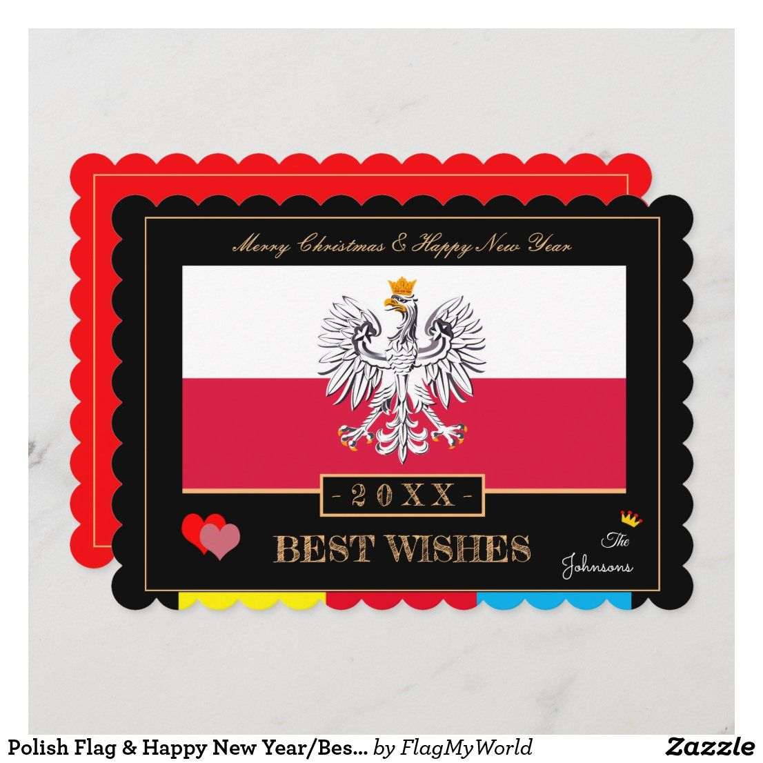 Polish Flag Happy New Year Best Wishes Poland Holiday Card Zazzle Com Holiday Design Card Family Christmas Cards Holiday Cards