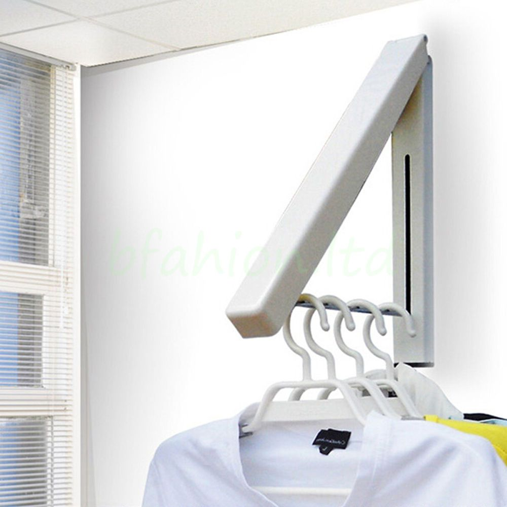 Details About Coat Fold Away Hanger Wall Mounted Clothes